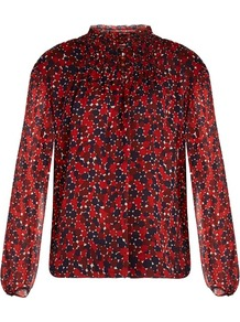 Aleni Blouse - neckline: high neck; style: blouse; predominant colour: true red; occasions: work, occasion; length: standard; fibres: silk - 100%; fit: straight cut; sleeve length: long sleeve; sleeve style: standard; texture group: silky - light; pattern type: fabric; pattern: patterned/print; pattern size: big & busy (top); season: a/w 2016
