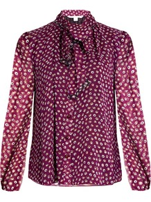 Havanah Blouse - neckline: pussy bow; style: blouse; predominant colour: purple; occasions: work, occasion, creative work; length: standard; fibres: silk - 100%; fit: body skimming; sleeve length: long sleeve; sleeve style: standard; texture group: silky - light; pattern type: fabric; pattern: patterned/print; pattern size: big & busy (top); season: a/w 2016