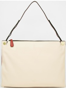 Slim Shoulder Bag Vanilla Red - predominant colour: ivory/cream; secondary colour: black; occasions: casual, creative work; type of pattern: light; style: shoulder; length: shoulder (tucks under arm); size: standard; material: faux leather; finish: plain; pattern: colourblock; season: a/w 2016
