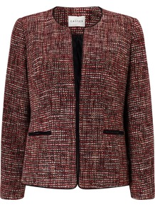 Tweed Jacket, Multi Coloured - collar: round collar/collarless; style: boxy; pattern: herringbone/tweed; secondary colour: white; predominant colour: burgundy; length: standard; fit: straight cut (boxy); fibres: wool - mix; occasions: occasion; sleeve length: long sleeve; sleeve style: standard; collar break: medium; pattern type: fabric; texture group: tweed - light/midweight; season: a/w 2016