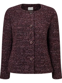 Boucle Jacket - pattern: plain; collar: round collar/collarless; style: boxy; predominant colour: burgundy; occasions: work; length: standard; fit: straight cut (boxy); fibres: acrylic - mix; sleeve length: long sleeve; sleeve style: standard; collar break: high; pattern type: fabric; texture group: woven light midweight; season: a/w 2016