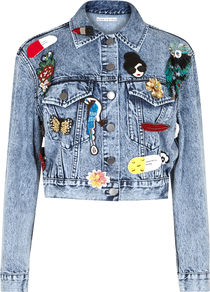 Chloe Embellished Cropped Denim Jacket - pattern: plain; style: denim; fit: slim fit; predominant colour: denim; occasions: casual, creative work; fibres: cotton - mix; collar: shirt collar/peter pan/zip with opening; sleeve length: long sleeve; sleeve style: standard; texture group: denim; collar break: high; pattern type: fabric; embellishment: applique; length: cropped; season: a/w 2016