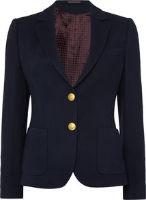 Jersey Pique Blazer, Blue - pattern: plain; style: single breasted blazer; fit: slim fit; collar: standard lapel/rever collar; predominant colour: navy; occasions: work; length: standard; fibres: viscose/rayon - 100%; sleeve length: long sleeve; sleeve style: standard; collar break: medium; pattern type: fabric; texture group: jersey - stretchy/drapey; season: a/w 2016