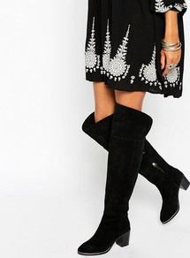 Everde Suede Heeled Over The Knee Boots Black Suede - predominant colour: black; occasions: casual, creative work; material: suede; heel height: high; heel: block; toe: round toe; boot length: over the knee; style: standard; finish: plain; pattern: plain; season: a/w 2016