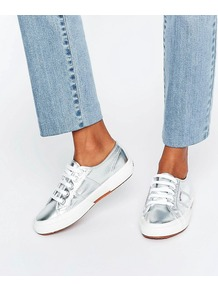 Metallic Plimsoll Trainers In Silver Silver - predominant colour: silver; occasions: casual; material: leather; heel height: flat; toe: round toe; style: trainers; finish: metallic; pattern: plain; shoe detail: moulded soul; season: a/w 2016