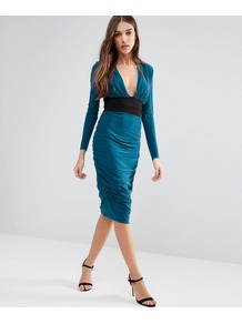 Long Sleeve Pencil Dress With Contrast Waist Band Teal - length: below the knee; neckline: low v-neck; fit: tight; pattern: plain; style: bodycon; waist detail: wide waistband/cummerbund; predominant colour: teal; secondary colour: black; occasions: evening; fibres: polyester/polyamide - stretch; sleeve length: long sleeve; sleeve style: standard; texture group: jersey - clingy; pattern type: fabric; season: a/w 2016