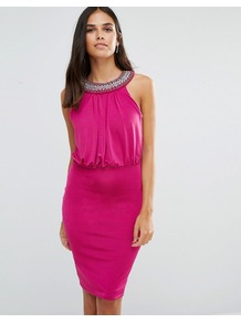 Pencil Dress With Embellished Neckline Pink - fit: tight; pattern: plain; sleeve style: sleeveless; style: blouson; bust detail: added detail/embellishment at bust; predominant colour: hot pink; occasions: evening; length: on the knee; fibres: polyester/polyamide - stretch; neckline: crew; sleeve length: sleeveless; texture group: jersey - clingy; pattern type: fabric; embellishment: crystals/glass; season: a/w 2016