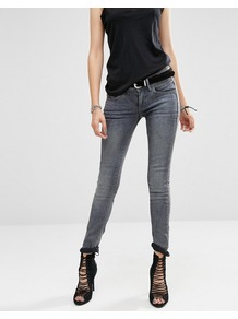 Lynn Mid Rise Skinny Jeans Grey - style: skinny leg; length: standard; pattern: plain; pocket detail: traditional 5 pocket; waist: mid/regular rise; predominant colour: mid grey; occasions: casual, creative work; fibres: cotton - stretch; jeans detail: whiskering; texture group: denim; pattern type: fabric; season: a/w 2016