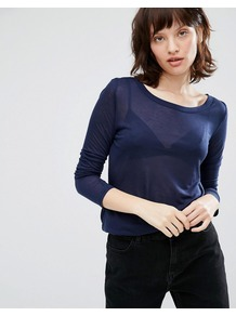 Ritte Long Sleeve Top Dark Iris - neckline: round neck; pattern: plain; predominant colour: navy; occasions: casual, creative work; length: standard; style: top; fibres: polyester/polyamide - 100%; fit: body skimming; sleeve length: 3/4 length; sleeve style: standard; pattern type: fabric; pattern size: standard; texture group: jersey - stretchy/drapey; season: a/w 2016