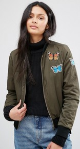 Khaki Bomber Jacket With Butterfly Badges Khaki - pattern: plain; collar: round collar/collarless; fit: slim fit; style: bomber; predominant colour: khaki; occasions: casual; length: standard; fibres: polyester/polyamide - stretch; sleeve length: long sleeve; sleeve style: standard; collar break: high; pattern type: fabric; texture group: other - light to midweight; embellishment: applique; season: a/w 2016