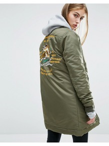 Longline Bomber Jacket With Back Embroidery Detail Army Khaki - collar: round collar/collarless; length: below the bottom; fit: slim fit; style: bomber; predominant colour: khaki; occasions: casual; fibres: nylon - 100%; sleeve length: long sleeve; sleeve style: standard; texture group: technical outdoor fabrics; collar break: high; pattern type: fabric; embellishment: embroidered; pattern: graphic/slogan; season: a/w 2016