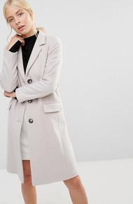 College Coat In Cream Ice - pattern: plain; style: single breasted; length: on the knee; collar: standard lapel/rever collar; predominant colour: blush; occasions: casual, work, creative work; fit: tailored/fitted; fibres: wool - mix; sleeve length: long sleeve; sleeve style: standard; collar break: medium; pattern type: fabric; texture group: woven bulky/heavy; season: a/w 2016