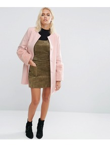 Faux Fur Cuff Coat In Pink Pale Pink - pattern: plain; collar: round collar/collarless; style: single breasted; length: on the knee; fit: slim fit; predominant colour: pink; occasions: casual; fibres: wool - mix; sleeve length: long sleeve; sleeve style: standard; texture group: knits/crochet; collar break: high; pattern type: fabric; embellishment: fur; season: a/w 2016