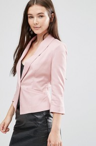 Evaline Blazer Wood Rose - pattern: plain; style: single breasted blazer; collar: standard lapel/rever collar; predominant colour: blush; occasions: casual, work; length: standard; fit: tailored/fitted; fibres: polyester/polyamide - stretch; sleeve length: 3/4 length; sleeve style: standard; collar break: medium; pattern type: fabric; texture group: woven light midweight; season: a/w 2016
