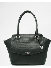 Tote Bag With Croc Black Croc - predominant colour: black; occasions: work; type of pattern: standard; style: tote; length: handle; size: standard; material: leather; pattern: plain; finish: plain; season: a/w 2016