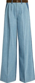 High Waisted Wide Leg Patchwork Jeans - length: standard; pattern: plain; waist: high rise; style: wide leg; predominant colour: denim; occasions: casual, creative work; fibres: cotton - stretch; texture group: denim; pattern type: fabric; season: a/w 2016