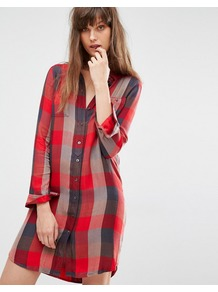 Check Shirt Dress Sumac Tango Red - style: shirt; length: mid thigh; neckline: shirt collar/peter pan/zip with opening; pattern: checked/gingham; predominant colour: true red; secondary colour: charcoal; occasions: casual; fit: straight cut; fibres: viscose/rayon - 100%; sleeve length: long sleeve; sleeve style: standard; texture group: cotton feel fabrics; pattern type: fabric; multicoloured: multicoloured; season: a/w 2016
