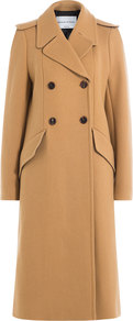 Wool Coat Camel - pattern: plain; shoulder detail: obvious epaulette; collar: wide lapels; style: double breasted; length: calf length; predominant colour: camel; occasions: work, occasion; fit: tailored/fitted; fibres: wool - 100%; sleeve length: long sleeve; sleeve style: standard; collar break: medium; pattern type: fabric; texture group: woven bulky/heavy; season: a/w 2016