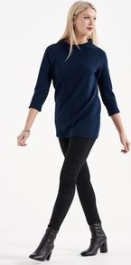 Tall Textured Roll Cuff Top At - pattern: plain; length: below the bottom; predominant colour: navy; occasions: casual; style: top; fibres: polyester/polyamide - stretch; fit: body skimming; neckline: crew; sleeve length: 3/4 length; sleeve style: standard; pattern type: fabric; texture group: jersey - stretchy/drapey; season: a/w 2016