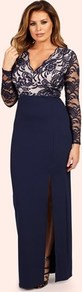 Long Sleeve Lace Dress - neckline: v-neck; pattern: plain; style: maxi dress; sleeve style: leg o mutton; predominant colour: navy; occasions: evening; length: floor length; fit: body skimming; fibres: polyester/polyamide - stretch; hip detail: slits at hip; sleeve length: long sleeve; pattern type: fabric; texture group: jersey - stretchy/drapey; embellishment: lace; season: a/w 2016