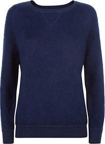 Wool Mohair Sweatshirt, Denim - neckline: round neck; pattern: plain; style: sweat top; predominant colour: denim; occasions: casual, creative work, activity; length: standard; fibres: wool - mix; fit: body skimming; sleeve length: long sleeve; sleeve style: standard; pattern type: fabric; texture group: jersey - stretchy/drapey; season: a/w 2016