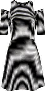 Stripe Cut Out Dress, Black & White - pattern: striped; secondary colour: white; predominant colour: black; occasions: evening; length: just above the knee; fit: fitted at waist & bust; style: fit & flare; fibres: viscose/rayon - stretch; neckline: crew; shoulder detail: cut out shoulder; sleeve length: half sleeve; sleeve style: standard; pattern type: fabric; texture group: jersey - stretchy/drapey; multicoloured: multicoloured; season: a/w 2016