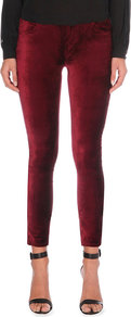 Verdugo Skinny Mid Rise Jeans, Women's, Ruby Red - style: skinny leg; pattern: plain; pocket detail: traditional 5 pocket; waist: mid/regular rise; predominant colour: burgundy; occasions: casual, evening; length: ankle length; fibres: cotton - stretch; pattern type: fabric; texture group: velvet/fabrics with pile; season: a/w 2016