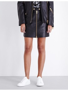 Tommy X Gigi Zip Through Leather Skirt, Women's, Master Black - length: mid thigh; pattern: plain; fit: body skimming; waist: mid/regular rise; predominant colour: black; occasions: casual; style: mini skirt; fibres: leather - 100%; texture group: leather; pattern type: fabric; season: a/w 2016