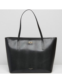 Leather Bow Shopper In Black Black - predominant colour: black; occasions: casual, work, creative work; type of pattern: standard; style: tote; length: handle; size: oversized; material: leather; pattern: plain; finish: plain; season: a/w 2016