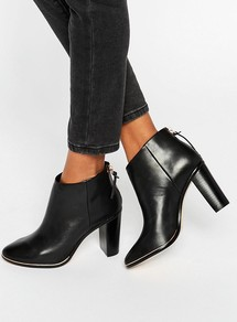 Lorca Leather Heeled Ankle Boots Black Leather - predominant colour: black; occasions: casual, work, creative work; material: leather; heel: block; toe: pointed toe; boot length: ankle boot; style: standard; finish: plain; pattern: plain; heel height: very high; season: a/w 2016