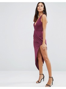 Asymmetric Maxi Dress In Slinky Plum - length: mini; neckline: low v-neck; sleeve style: spaghetti straps; fit: tight; pattern: plain; predominant colour: magenta; occasions: evening; style: asymmetric (hem); fibres: polyester/polyamide - 100%; sleeve length: sleeveless; texture group: jersey - clingy; pattern type: fabric; season: a/w 2016