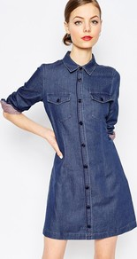 Denim Dot Button Through Dress Blue - style: shirt; length: mid thigh; neckline: shirt collar/peter pan/zip with opening; pattern: plain; predominant colour: navy; occasions: casual; fit: body skimming; fibres: cotton - 100%; sleeve length: long sleeve; sleeve style: standard; texture group: denim; pattern type: fabric; season: a/w 2016