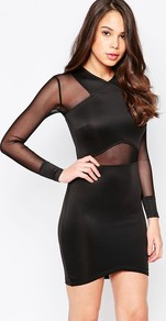 Long Sleeve Bodycon Dress With Mesh Inserts Black - style: shift; fit: tight; pattern: plain; predominant colour: black; occasions: evening, occasion; length: just above the knee; fibres: polyester/polyamide - stretch; neckline: crew; sleeve length: long sleeve; sleeve style: standard; texture group: jersey - clingy; pattern type: fabric; pattern size: standard; season: a/w 2016