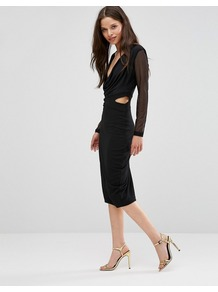 Pencil Dress With Mesh Sleeves Black - length: below the knee; neckline: low v-neck; fit: tight; pattern: plain; style: bodycon; predominant colour: black; occasions: evening; fibres: polyester/polyamide - stretch; sleeve length: long sleeve; sleeve style: standard; texture group: jersey - clingy; pattern type: fabric; season: a/w 2016