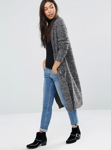 Longline Cardigan With Front Pockets Grey - pattern: plain; neckline: collarless open; style: open front; predominant colour: mid grey; occasions: casual; length: calf length; fibres: acrylic - 100%; fit: loose; sleeve length: long sleeve; sleeve style: standard; texture group: knits/crochet; pattern type: knitted - fine stitch; season: a/w 2016