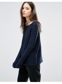 Horizontal Rib Jumper Black/Navy/Silver - pattern: plain; style: standard; shoulder detail: contrast pattern/fabric at shoulder; predominant colour: navy; occasions: casual; length: standard; fibres: acrylic - 100%; fit: standard fit; neckline: crew; sleeve length: long sleeve; sleeve style: standard; texture group: knits/crochet; pattern type: knitted - other; season: a/w 2016