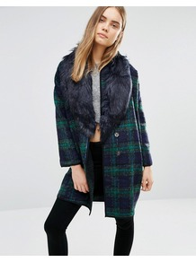 Checked Coat With Faux Fur Trim Navy Green - pattern: checked/gingham; length: below the bottom; style: single breasted; predominant colour: navy; secondary colour: emerald green; occasions: casual; fit: tailored/fitted; fibres: wool - mix; sleeve length: long sleeve; sleeve style: standard; texture group: knits/crochet; collar: fur; collar break: medium; pattern type: knitted - fine stitch; multicoloured: multicoloured; season: a/w 2016