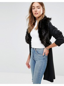 Wool Mix Longline Coat With Oversized Faux Fur Collar Black - pattern: plain; style: single breasted; hip detail: fitted at hip; length: mid thigh; predominant colour: black; occasions: evening, creative work; fit: straight cut (boxy); fibres: polyester/polyamide - mix; sleeve length: long sleeve; sleeve style: standard; collar: fur; collar break: high/illusion of break when open; pattern type: fabric; pattern size: standard; texture group: woven bulky/heavy; embellishment: fur; season: a/w 2016