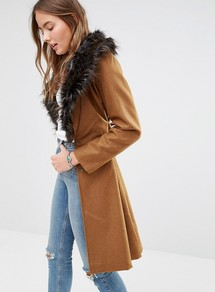 Wool Mix Longline Coat With Oversized Faux Fur Collar Tan - pattern: plain; style: single breasted; length: on the knee; predominant colour: tan; occasions: casual, creative work; fit: straight cut (boxy); fibres: polyester/polyamide - mix; shoulder detail: added shoulder detail; sleeve length: long sleeve; sleeve style: standard; collar: fur; collar break: medium; pattern type: fabric; texture group: woven bulky/heavy; embellishment: fur; season: a/w 2016
