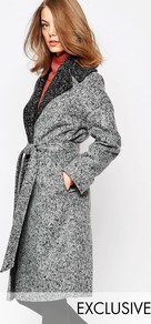 Brushed Grey Contrast Oversized Collar Coat Black/Grey - pattern: plain; style: wrap around; fit: slim fit; collar: standard lapel/rever collar; hip detail: fitted at hip; predominant colour: light grey; occasions: casual; fibres: wool - mix; length: below the knee; waist detail: belted waist/tie at waist/drawstring; sleeve length: long sleeve; sleeve style: standard; texture group: knits/crochet; collar break: medium; pattern type: knitted - other; season: a/w 2016