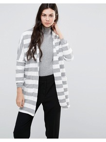 Hulda Open Jacket Light Grey - pattern: horizontal stripes; collar: round collar/collarless; fit: loose; predominant colour: light grey; occasions: casual, creative work; fibres: cotton - mix; length: mid thigh; sleeve length: long sleeve; sleeve style: standard; texture group: cotton feel fabrics; collar break: low/open; pattern type: fabric; style: fluid/kimono; pattern size: big & busy (top); season: a/w 2016
