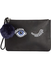 Eye Clutch Bag, Black - secondary colour: navy; predominant colour: black; occasions: evening; type of pattern: standard; style: clutch; length: hand carry; size: small; material: faux leather; pattern: plain; finish: plain; season: a/w 2016