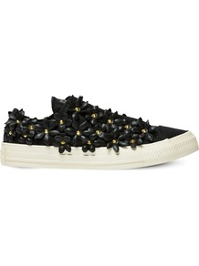All Star Floral Embellished Low Top Trainers, Women's, 5.5, Patbo Black Floral - predominant colour: black; occasions: casual; material: leather; heel height: flat; embellishment: crystals/glass; toe: round toe; style: trainers; finish: plain; pattern: patterned/print; shoe detail: moulded soul; season: a/w 2016