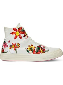 All Star Floral Embroidered High Top Trainers, Women's, 6.5, Patbo White Floral - predominant colour: ivory/cream; occasions: casual; material: fabric; heel height: flat; toe: round toe; style: trainers; finish: plain; pattern: patterned/print; shoe detail: moulded soul; multicoloured: multicoloured; season: a/w 2016