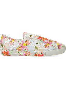 Ctas Floral Print Leather Low Top Trainers, Women's, Patbo White Floral - predominant colour: ivory/cream; occasions: casual; material: leather; heel height: flat; toe: round toe; style: trainers; finish: plain; pattern: patterned/print; season: a/w 2016