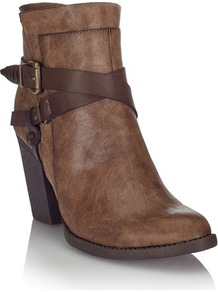 Wrap Buckle Boots - predominant colour: chocolate brown; occasions: casual; material: faux leather; heel height: mid; embellishment: buckles; heel: block; toe: round toe; boot length: ankle boot; style: standard; finish: plain; pattern: plain; season: a/w 2016