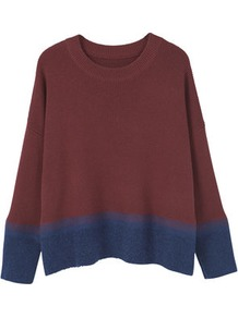 Contrast Hem Sweater - neckline: round neck; pattern: plain; style: standard; predominant colour: burgundy; occasions: casual; length: standard; fibres: wool - mix; fit: loose; sleeve length: long sleeve; sleeve style: standard; texture group: knits/crochet; pattern type: knitted - fine stitch; season: a/w 2016