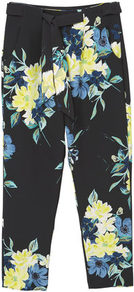 Floral Print Trousers - length: standard; waist detail: belted waist/tie at waist/drawstring; waist: mid/regular rise; secondary colour: primrose yellow; predominant colour: black; occasions: casual; fibres: polyester/polyamide - stretch; fit: straight leg; pattern type: fabric; pattern: florals; texture group: woven light midweight; style: standard; multicoloured: multicoloured; season: a/w 2016