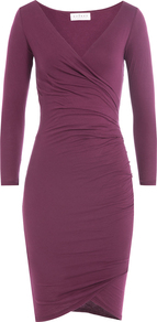 Draped Cotton Dress Purple - style: faux wrap/wrap; neckline: v-neck; fit: tight; pattern: plain; predominant colour: purple; occasions: evening; length: on the knee; fibres: cotton - 100%; sleeve length: long sleeve; sleeve style: standard; texture group: jersey - clingy; pattern type: fabric; season: a/w 2016