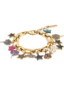 Embellished Charm Bracelet Gold - predominant colour: gold; occasions: evening, occasion; style: charm; size: standard; material: chain/metal; finish: metallic; embellishment: jewels/stone; multicoloured: multicoloured; season: a/w 2016